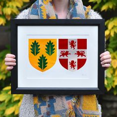 Clarke & Shorten Coat of Arms. A unique personalised Wedding or Christmas Gift.  Xmas present.