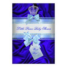 Little Prince Baby Shower Boy Royal Blue 2 Custom Invitation
