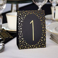 Gold Foil Dot Design Table Number Tent Cards (Numbers 1 - 40)