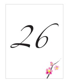 Cherry Blossom Table Number Cards $7.39