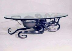 Glass octopus coffee table
