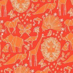 Orange Lion Fabric by Michael Miller by NeedleinaFabricStash