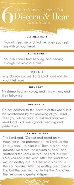 Do want to discern God's voice? Read and study these 6 scriptures to get you started. Discernment Quotes, Prayer For Discernment, Prayer Verses, Faith Quotes, Bible Quotes, Bible Quotations, Bible Studies For Beginners, Bible Study Tips, Bible Lessons