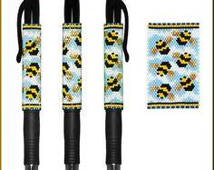 Busy Bees Pilot G-2 Pen Cover Peyote Pattern by Kristy Zgoda
