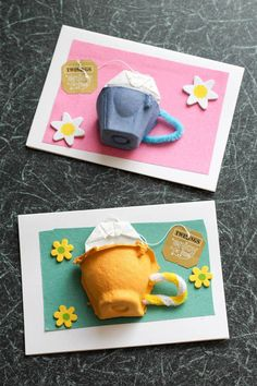 Drink It All In with Twinings and Tea Cup Cards - In The Playroom - Egg box tea cup card, with a real tea bag. Great for mothers day cards, thank you cards, or just to - Mothers Day Crafts For Kids, Paper Crafts For Kids, Mothers Day Cards, Easy Crafts For Kids, Preschool Crafts, Easter Crafts, Kids Fathers Day Cards, Diy Mother's Day Crafts, Mother's Day Diy