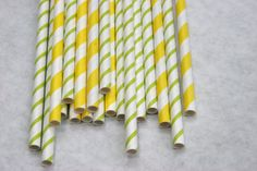 Paper Straws in Yellow and Bright Green Thin Stripe, Pack of 100, Limeade Mix