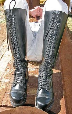 30-EYELETS ALL THE WAY UP TO THE KNEE ON THESE BAD-BOY BRITISH BOOTS BY UNDERGROUND SHOES! JAN. '18. Riding Boots, Combat Boots, Men's Boots, Lace Up Boots, Jeans And Boots, Mens High Boots, Skinhead Boots, Underground Shoes, Biker Wear