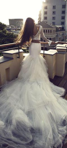 Zahavit Tshuba 2016 Bridal Collection - Belle The Magazine Wedding Dress Trends, Dream Wedding Dresses, Wedding Attire, Bridal Dresses, Wedding Gowns, Wedding Bells, Two Piece Wedding Dress, Bridal Collection, Wedding Styles