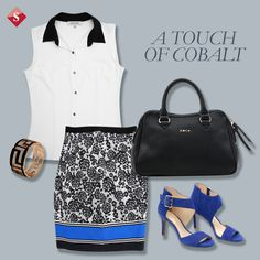 black and white + cobalt outfit