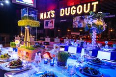 4 Ideas To Make Your Centerpieces Stand Out - Yankees Baseball Theme Bar Mitzvah Centerpieces & Party Decorations by The Showplace Floral Design & Event Decor - mazelmoments.com