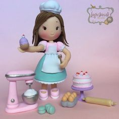Baker Cake, Fondant Cake Toppers, Pastel, Baby Shower, Clay Ornaments, Pasta Flexible, Cake Art, Biscuits, Cake Decorating