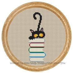 Punto De Cruz Cross Stitch Pattern PDF cat and books - Included in the pdf file: - Black Cat Cross Stitches, Cross Stitch Bookmarks, Cross Stitch Books, Cute Cross Stitch, Cross Stitch Animals, Cross Stitch Charts, Cross Stitch Designs, Cross Stitching, Cross Stitch Embroidery