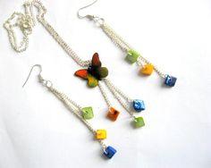 Fluture multicolor set bijuterii sidef colier si cercei 15167