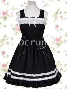Schwarz Baumwolle Gothic Lolita Kleid