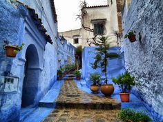 Distinctive blue streets of Chefchaouen, #Morocco.