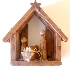 Craft Stick Nativity Christmas.  This little nativity is so simple and cute.  I set mine out every Christmas and the grandkids love it.  This would be a great craft to do with children of all ages.  For younger kiddos, it might be good to have the pieces pre-cut and ready to assemble.  What an heirloom treasure for little ones to enjoy for a lifetime.