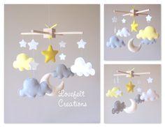 Mobile bébé nuage mobile lune nuages mobile par lovefeltmobiles