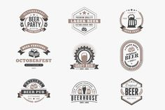 Set of Vintage Beer Badges by AntartStock on @creativemarket