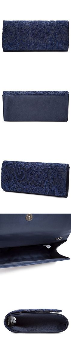 Chichitop Women's Elegant Floral Lace Evening Party Clutch Bags Bridal Wedding Purse Handbag,Navy Blue