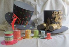 DIY craft tutorial on how to make mini top hat, Mad Hatter hat, and steampunk hat with recyclables, scrap booking and poster board. Mad Hatter Top Hat, Mad Hatter Party, Mad Hatter Tea, Crazy Hat Day, Crazy Hats, Alice Tea Party, Alice In Wonderland Tea Party, Magic Party, Hat Crafts