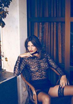 model Alyssa Miller in lingerie for October 2012 Harper's Bazaar Turkey. Photographer: Koray Birand stylist: Mahizer Aytas hair stylist: Serkan Akturk makeup: Erkan Uluc