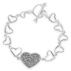 "7.5"" sterling silver cut out heart link toggle bracelet. The bracelet has a 22mm polished heart center embossed with black enamel ""love"" messages. The toggle closure is an arrow and heart.    .925 Sterling Silver  http://www.925silvercatalog.com/Merchant2/merchant.mvc?Screen=PROD_Code=SSC_Code=23229_Code=NA_Bracelet  USE Vendor Code: DCH90045"