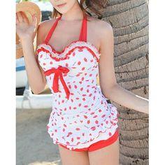 Sexy Halterneck Backless Drawstring Ruffled Lace One-Piece Swimwear For WomenSwimwear | RoseGal.com
