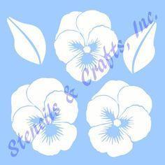 "PANSY STENCIL PANSIES FLOWER FLOWERS LEAF TEMPLATES TEMPLATE CRAFT NEW 6"" X 5"" #STENCILSCRAFTSINC"