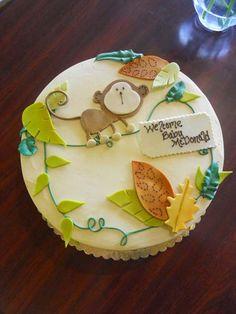 Jungle Monkey Baby Shower Cake  - so cute!