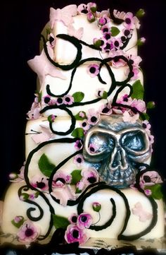 Cherry Blossoms, Butterflies, and Skull Wedding Cake By eXtremecakes on CakeCentral.com