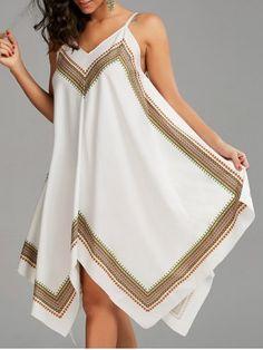Printed Oversized Slip Handkerchief Dress - White - S Scarf Dress, Boho Dress, Bohemian Dresses, Bohemian Style, Spring Fashion Outfits, Look Fashion, Cheap Fashion, Men Fashion, Estilo Hippie