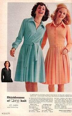 Vintage Fashion Sears 1974 Fall Winter - Today's everyday styles can be so tired and unremarkable - it's refreshing to see something bold and unique. Come take a look. 70s Fashion, Fashion History, Women's Fashion Dresses, Vintage Fashion, Womens Fashion, Fashion Stores, Knit Fashion, Fashion 2018, Curvy Fashion