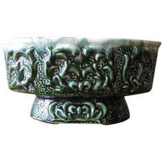 Vintage Green Footed Planter Cachepot with Vine Relief Design at whimsicalvintage.rubylane.com