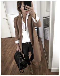 Camel coat, white shirt, black jeans & leo print booties=perfect
