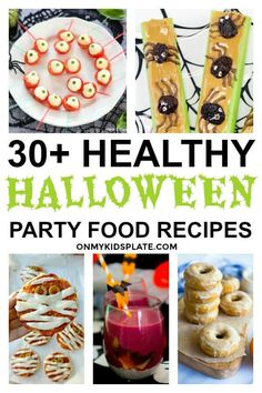 Need party ideas for halloween? Find 30 plus healthy Halloween party food ideas kids and adults are going to love! This mega list is separated into fun Halloween appetizers and snack recipes and spooky healthy halloween desserts and treats. Halloween Appetizers, Healthy Halloween, Halloween Desserts, Halloween Food For Party, Halloween Activities, Halloween Stuff, Halloween Treats, Fruit Recipes, Snack Recipes
