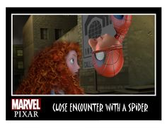 "Pixar Invades The Marvel & DC Comics Universe! Disney's Merida meets Wee Dingwall's Spiderman (characters from ""Brave"")"