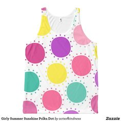 Girly Summer Sunshine Polka Dot All-Over Print Tank Top