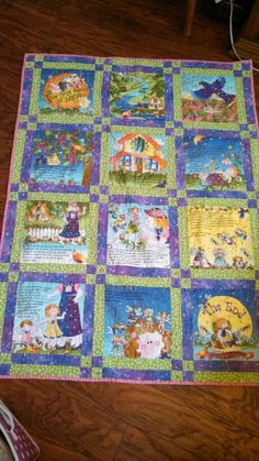 The true story of fairies. This is my granddaughters baby quilt. She's 5 now and still uses it. I used a book panel and built sashings around the blocks.