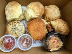 1. Hot Little Biscuit This hole in the wall shop serves up an assortment of the best house-made biscuits you'll ever have. The blackberry jam, cheddar and chive, black pepper bacon, country ham and cinnamon flavors are all to die for. Be prepared for a wait time— but it's totally worth it!