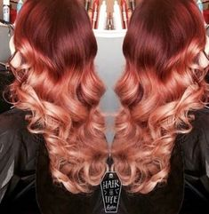 New Hair Ombre Reverse Rose Gold Ideas Auburn Hair Balayage, Balayage Hair Rose, Red Ombre Hair, Bright Red Hair, Ombre Hair Color, Ombre Rose Gold, Rose Gold Hair, Beautiful Red Hair, Strawberry Blonde Hair