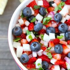 Red, White and Blue Salad  The kids favorite salad!  Strawberries, Jicama and Blueberries, with a honey and lemon dressing.  (no green stuff required)