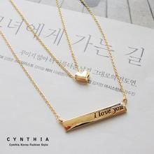 CYNTHIA - Heart & Lettering Double-Chain Necklace