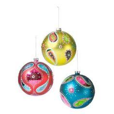 Paisley ball ornaments