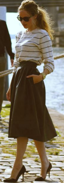 breton // 50s circle skirt // classic pumps // fashnchips