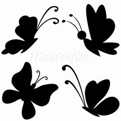 Butterflies with opened wings, black silhouettes on white background Stock Photos