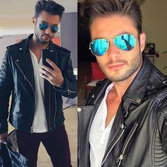 Não poderia faltar inspiração de looks para eles também  @amadeoleandro apostou no jaqueta de couro e óculos #Rayban  #envyotica #modamasculina #outfit
