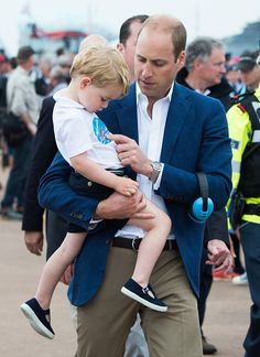 Prince William, Duke of Cambridge and Prince George of Cambridge attend the The Royal International Air Tattoo at RAF Fairford on July 8, 2016 in Fairford, England.