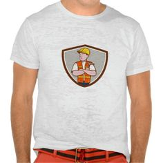 Builder Carpenter Folded Arms Hammer Crest Cartoon T-Shirt. Illustration of a builder carpenter construction worker arms folded holding hammer looking to the side set inside shield crest on isolated background done in cartoon style. #Illustration #BuilderCarpenterFoldedArmsHammer