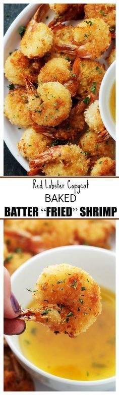 """Baked Batter """"Fried"""" Shrimp with Garlic Dipping Sauce – If you are a fan of Red Lobster's Batter Fried Shrimp, then you are going to LOVE this healthier, homemade version in which the shrimp are baked instead of fried and they taste amazing!"""