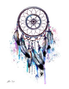 Paintings on canvas and digitally enhanced on paper. Available on Society Katie O'Brien art. Dream Catcher Sketch, Dream Catcher Painting, Owl Dream Catcher, Dream Catcher Tattoo Design, Black Dream Catcher, Dream Catcher Watercolor, Dream Catcher Images, Dreamcatcher Wallpaper, Watercolor Dreamcatcher